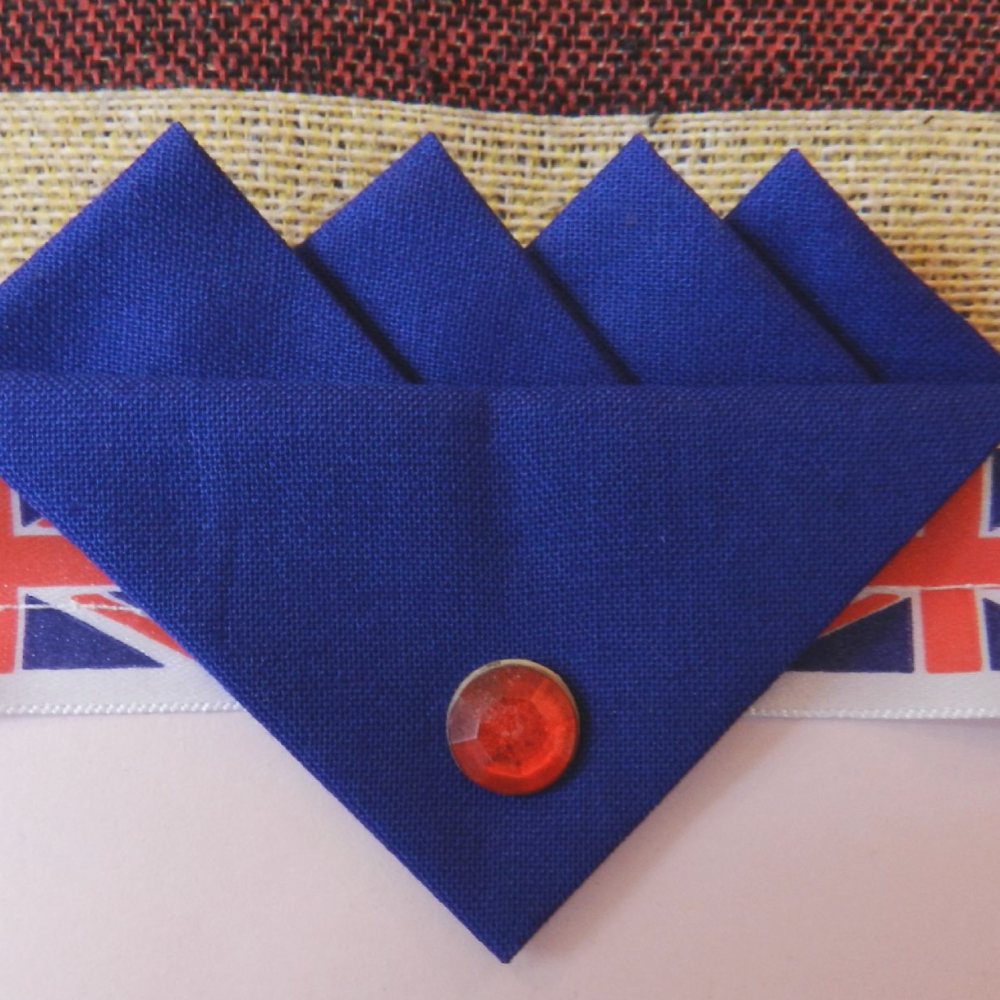 Blue (Royal Blue) Four  Point Pocket Hankie & pin